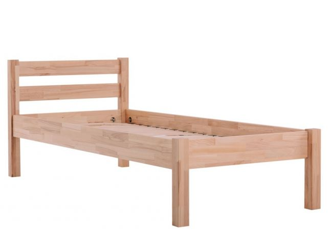 Ліжко односпальне Моно натурального кольору, матеріал зрощений бук (загальний вигляд)