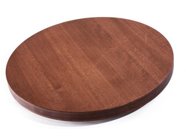 Столешница круглая коричневого цвета, материал - цельный бук (вид сверху).