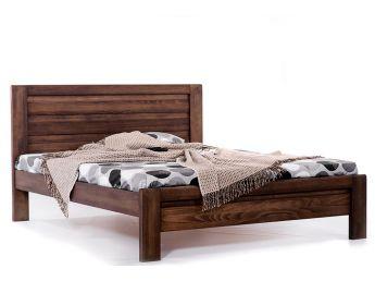 Кровать Люкс темно-коричневого цвета, материал - бук цельный (общий вид)
