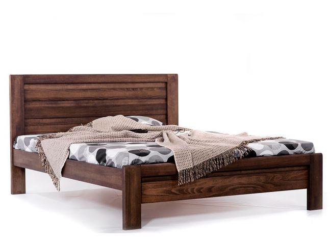 Ліжко Люкс темно-коричневого кольору, матеріал - бук цільний (загальний вигляд)