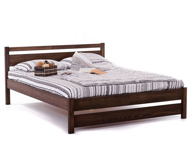 Ліжко Вікторія темно-коричневого кольору, матеріал - бук цільний (загальний вигляд)
