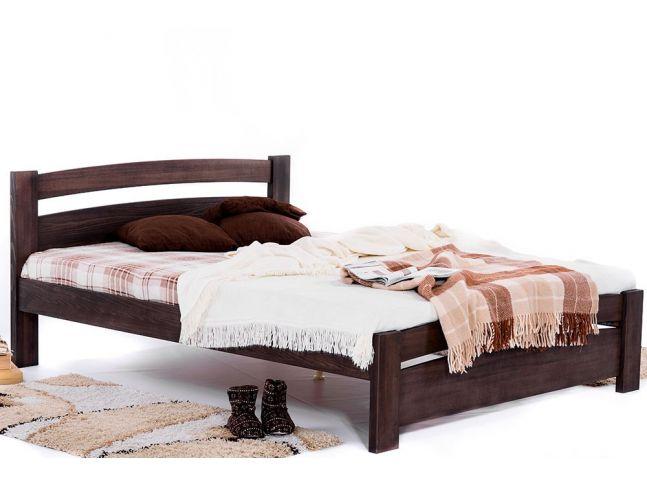 Кровать София темно-коричневого цвета, материал - бук цельный (общий вид)