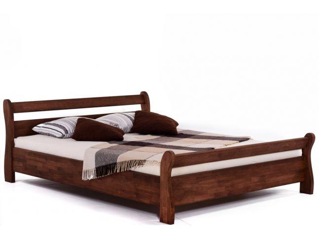 Ліжко Міледа коричневого кольору, матеріал - бук зрощений (загальний вигляд).