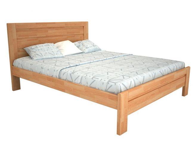Ліжко Люкс натурального кольору, матеріал - бук зрощений (загальний вигляд)