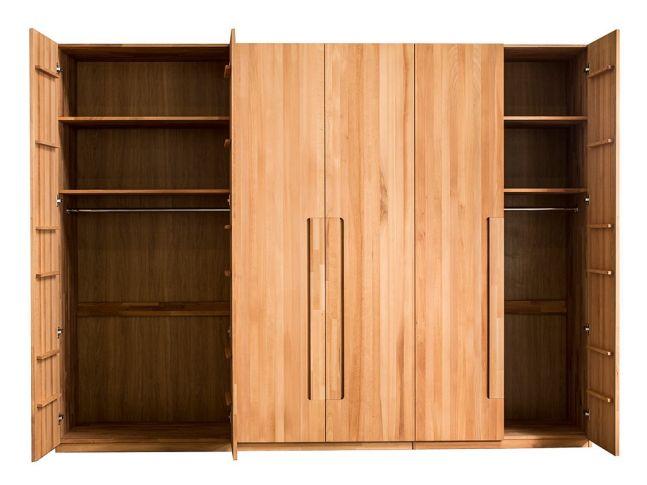 Шкаф Люкс натурального кольору, зрощеного та цільного бука (загальний вигляд)