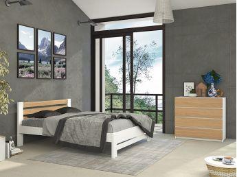 Спальня Сільвана Плюс Еліт білого + натурального кольору, зрощеного і цільного бука/дуба (в інтер'єрі)