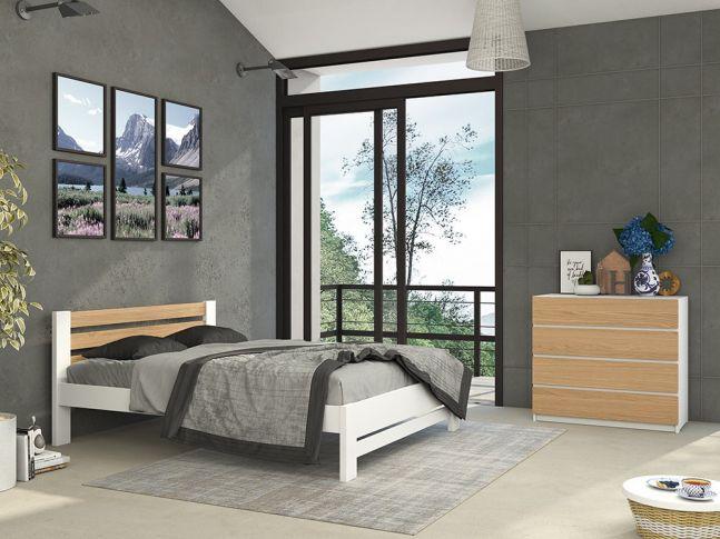 Спальня Сильвана Плюс Элит белого+натурального цвета, сращенного и цельного бука/дуба (в интерьере)