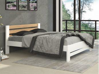 """Ліжко Сільвана """"плюс"""" білого+натурального кольору, зрощеного та цільного бука/дуба (в інтер'єрі)"""