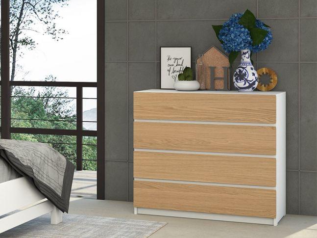 Комод Кетрін білого + натурального кольору, матеріал - бук/дуб зрощений/цільний (інтер'єрі).