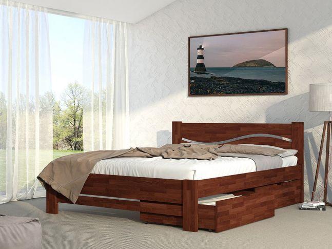 Кровать Венеция Плюс Комфорт светло-коричнегого цвета, из сращенного бука (в интерьере)