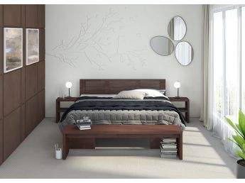 Спальня Тайгер лак коричневого цвета, материал - бук сращенный (в интерьере)
