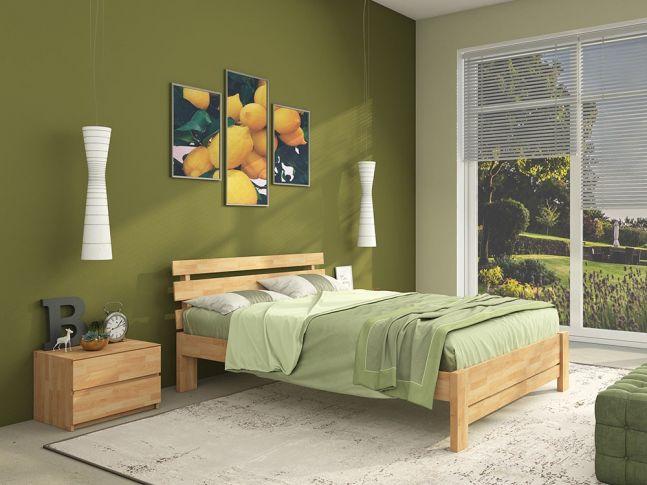 Спальня Лучана Плюс натурального цвета, материал - сращенный бук (в интерьере).