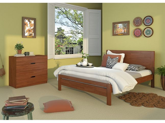 Спальня Валенсия коричневого цвета, сращенного бука (в интерьере)