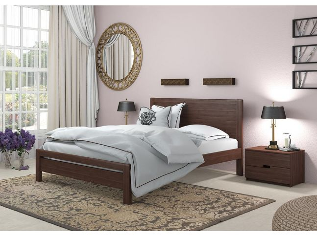 Спальня Скарлет коричневого цвета в лаке, цельного бука (в интерьере)