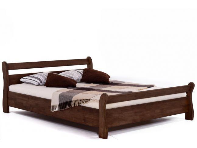 Ліжко Міледа темно-коричневого кольору, матеріал - бук зрощений (загальний вигляд).