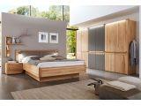 Шафа Глорія натурального кольору, матеріал зрощений/цільний бук, матове скло (загальний вигляд спальні)