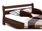 Ліжко Міледа темно-коричневого кольору, матеріал - бук зрощений (вигляд збоку).