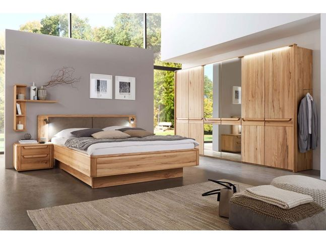 Спальня Глорія натурального кольору, матеріал зрощений/цільний бук (в інтер'єрі)