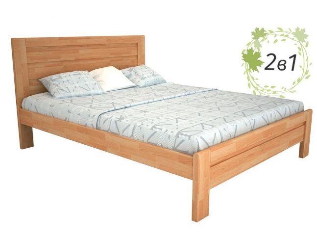 Кровать Люкс натурального цвета, материал срощенный бук + Матрас Мокко (общий вид)