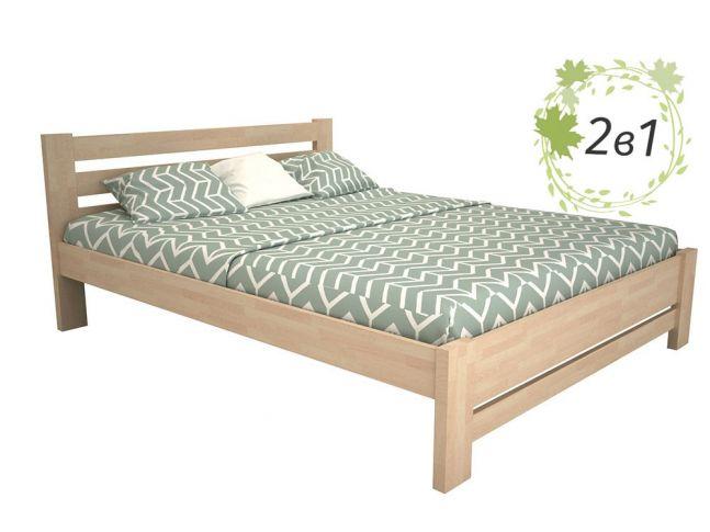 Кровать Сильная Плюс цвета беж, материал - срощенный бук + Матрас Капучино (общий вид)