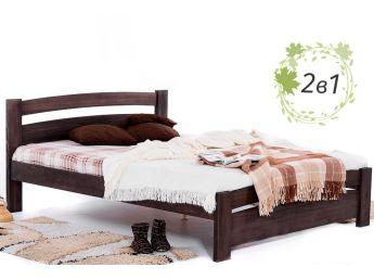 Ліжко Софія кольору венге, матеріал - цільний бук + Матрац Мокко 1800х2000 (загальний вид)