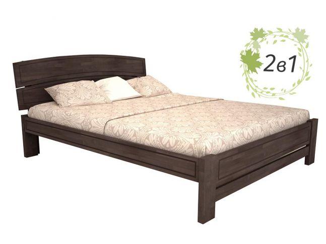 Ліжко Жасмін Плюс кольору венге, матеріал - зрощенний бук + Матрац Мокко (загальний вигляд)