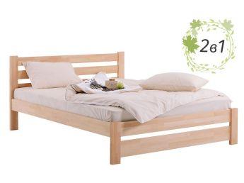 Кровать Каролина натурального цвета, материал - бук срощенный + Матрас Капучино общий вид)