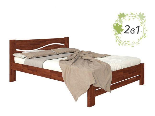 Ліжко Венеція Плюс кольору горіх, матеріал - бук зрощений + Матрац Мокко (загальний вигляд)