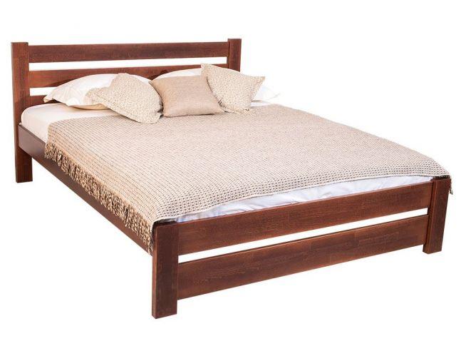 Ліжко Кароліна темно-коричневого кольору (венге) покриття лаком, матеріал - бук зрощений (загальний вигляд)