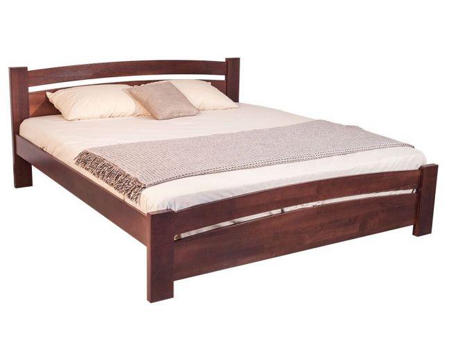 Кровать София темно-коричневого цвета (венге) покрытие лак, материал - бук сращенный (общий вид)