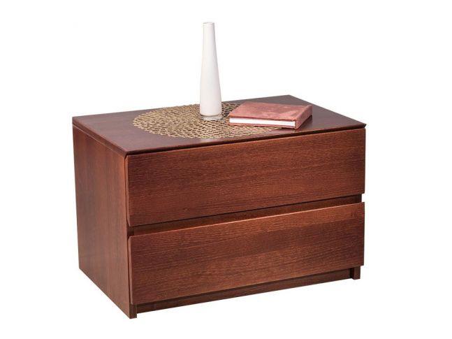 Тумбочка прикроватная Кэтрин светло-коричнегого цвета (орех) покрытие лак, материал - цельный бук (общий вид с декором)
