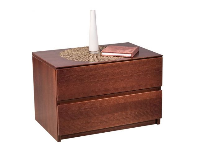Тумбочка приліжкова Кетрін світло-коричневого кольору (горіх) покриття лак, матеріал - цільний бук (загальний вигляд з декором)