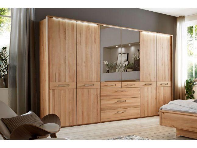 Шкаф Николь 6 дверный с ящиками натурального цвета, материал сращенный/цельный бук, двери с зеркалом (общий вид в интерьере)