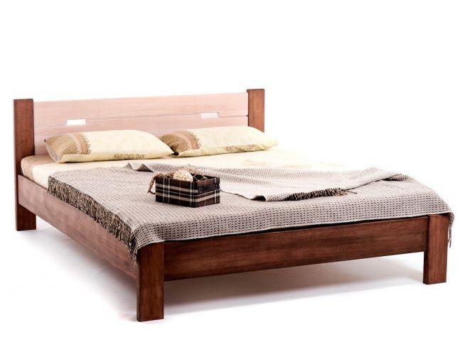 Кровать Селена коричневого и белого цветов, материал - цельный бук (общий вид)
