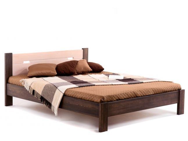 Ліжко Селена темно-коричневого і білого кольорів, матеріал - цільний бук (загальний вигляд)