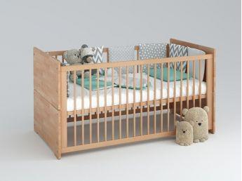 Купити Дитяче ліжечко трансформер Whity натурального кольору, матеріал - бук зрощений (для новонароджених і немовлят з декором)