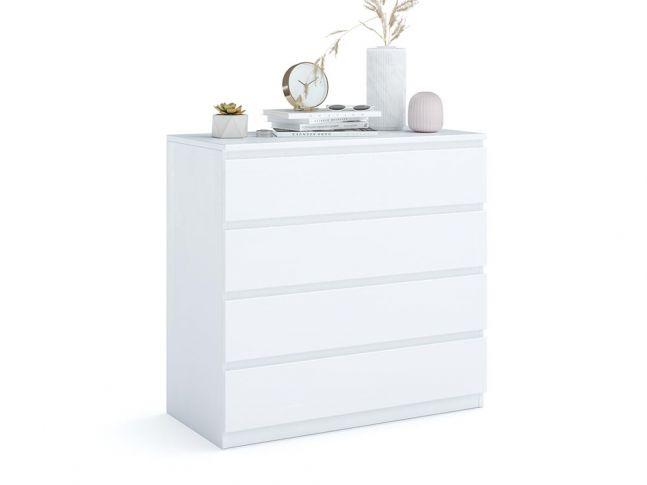 Комод Кетрін Еко білого кольору, матеріал - бук зрощений/цільний (загальний вигляд фон білий)