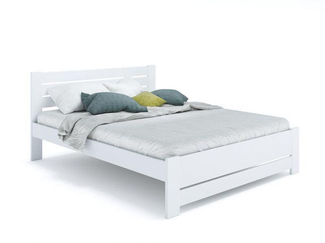 Ліжко Кароліна Еко білого кольору, покриття лак, матеріал - бук зрощений/цільний (загальний вигляд фон білий)