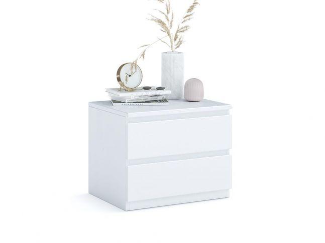 Тумбочка прикроватная Кэтрин Еко белого цвета, покрытие лак, материал - срощенный\цельный бук (общий вид фон белый)