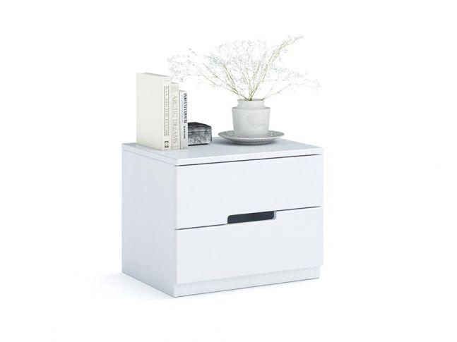 Тумбочка приліжкова Селена Еко білого кольору, матеріал - зрощений/цільний бук (загальний вигляд фон білий)