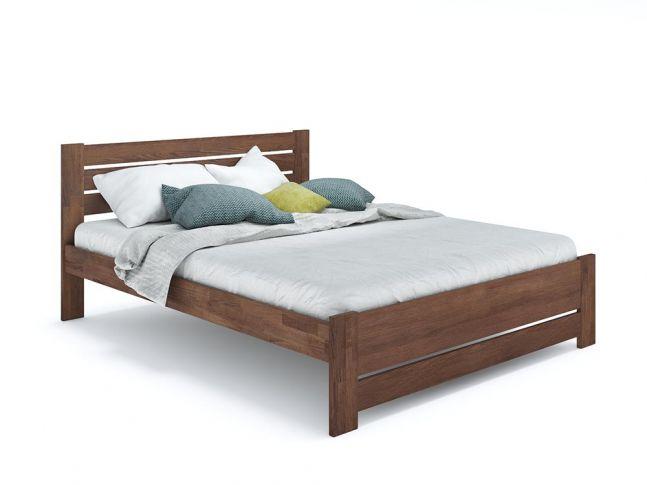 Ліжко Кароліна Еко кольору горіх, матеріал - бук зрощений/цільний (загальний вигляд)