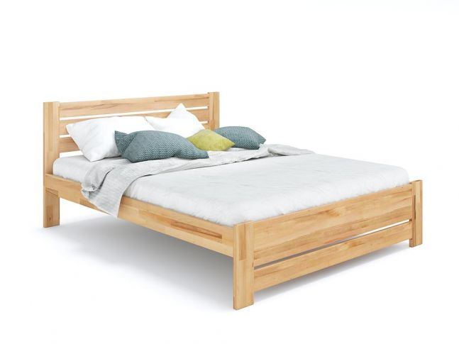 Ліжко Кароліна Еко натурального кольору, покриття лак, матеріал - бук зрощений/цільний (загальний вигляд)