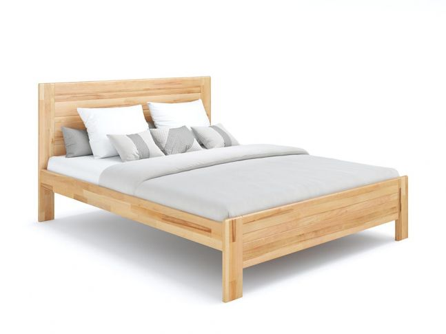 Ліжко Люкс натурального кольору, покриття лак, матеріал - бук зрощений/цільний (загальний вигляд)