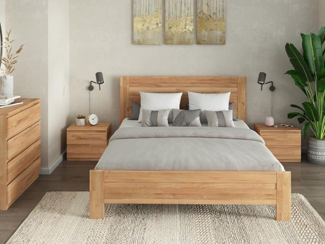 Купити Спальню Люкс Еко натурального кольору, матеріал зрощений/цільний бук (в інтер'єрі загальний вид)