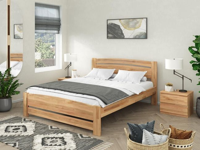 Купити Спальню Софія Еко натурального кольору, матеріал зрощений/цільний бук (в інтер'єрі загальний вид)