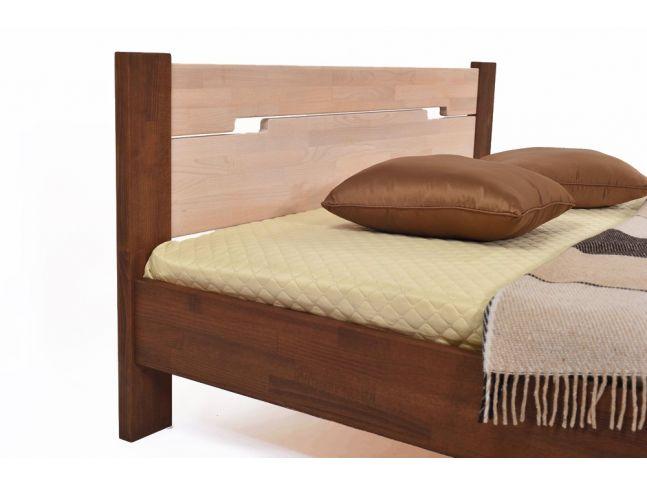 Кровать Селена коричневого и белого цветов, материал - срощенный бук (вид с угла)