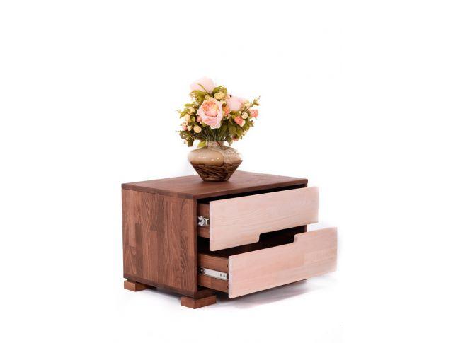 Тумбочка Селена коричневого и белого цвета, материал - срощенный бук (в открытом виде).