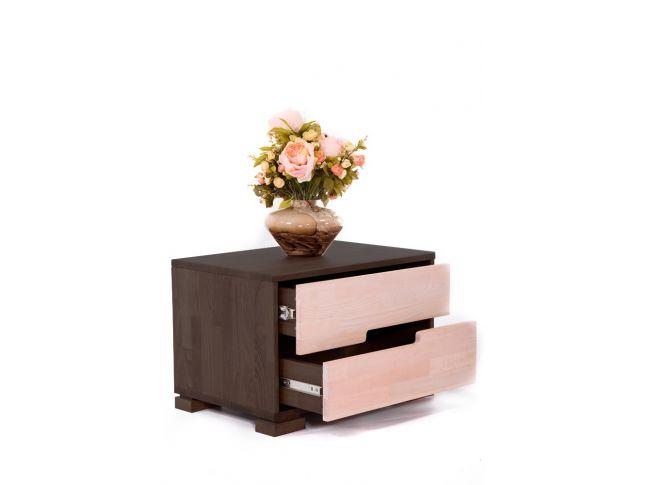 Тумбочка Селена темно-коричневого та білого кольору, матеріал - зрощений бук (у відкритому вигляді).