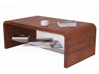 Стол журнальный Ксенон коричневого цвета, материал - цельный бук (общий вид с декором).