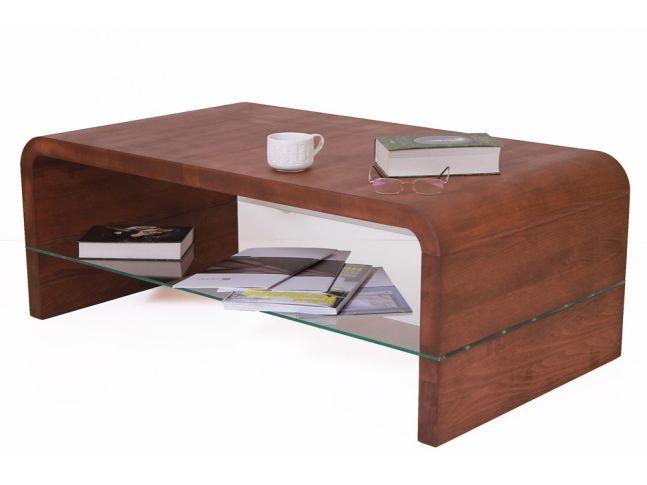 Стіл журнальний Ксенон коричневого кольору, матеріал - цільний бук (загальний вигляд з декором).